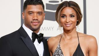 NFL football player Russell Wilson and singer Ciara arrive at the 58th Grammy Awards in Los Angeles, California February 15, 2016.  REUTERS/Danny Moloshok