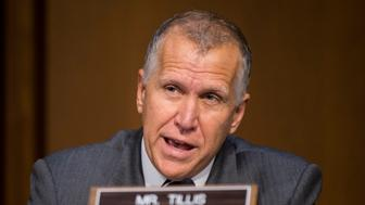 UNITED STATES - JULY 21: Sen. Thom Tillis, R-N.C., questions the witness during the Senate Armed Services Committee hearing on the nomination of Army Gen. Mark Milley to be Army chief of staff on Tuesday, July 21, 2015. (Photo By Bill Clark/CQ Roll Call)