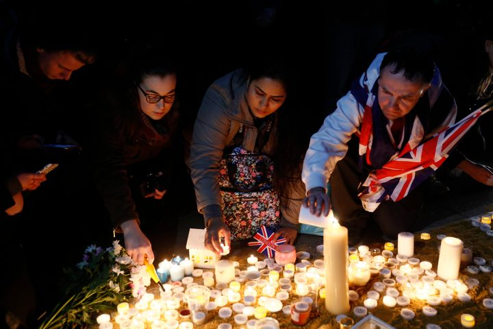 Mourners gathered in Trafalgar Square Thursday to honor the victims of the devastating terror attack.