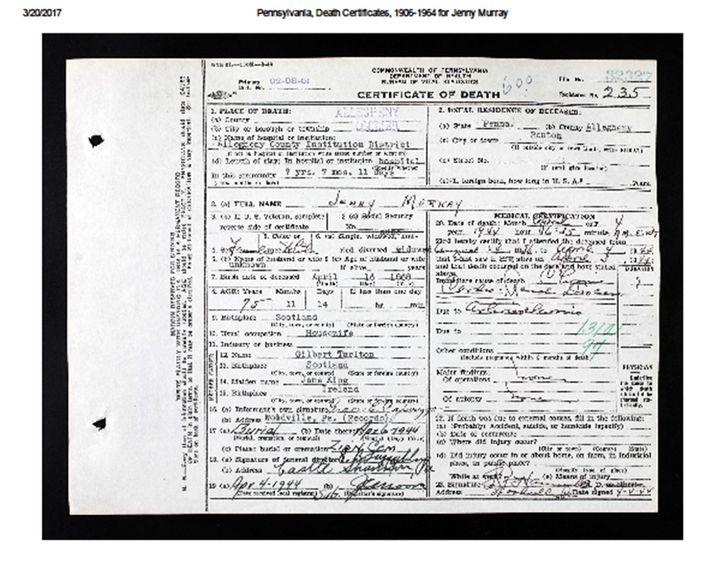 Jennie Tarleton death certificate