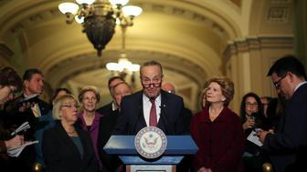 U.S. Senator Chuck Schumer (D-NY) talks to journalist after attending the Senate Democrat party leadership elections at the U.S. Capitol in Washington, DC, U.S. November 16, 2016. REUTERS/Carlos Barria