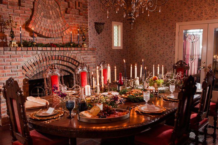 The dinner setup had a romantic, regal vibe.