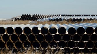 A depot used to store pipes for Transcanada Corp's planned Keystone XL oil pipeline is seen in Gascoyne, North Dakota November 14, 2014. The Republican-led U.S. House of Representatives approved the Keystone XL pipeline on Friday, but a similar measure struggled to get enough support in the Senate and President Barack Obama indicated he might use his veto if the bill does get through Congress. REUTERS/Andrew Cullen   (UNITED STATES - Tags: ENERGY BUSINESS)