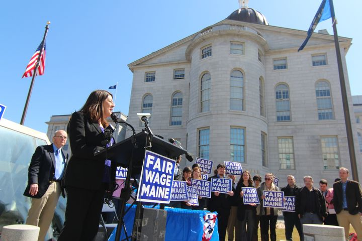 Minimum wage supporters rally in Maine.