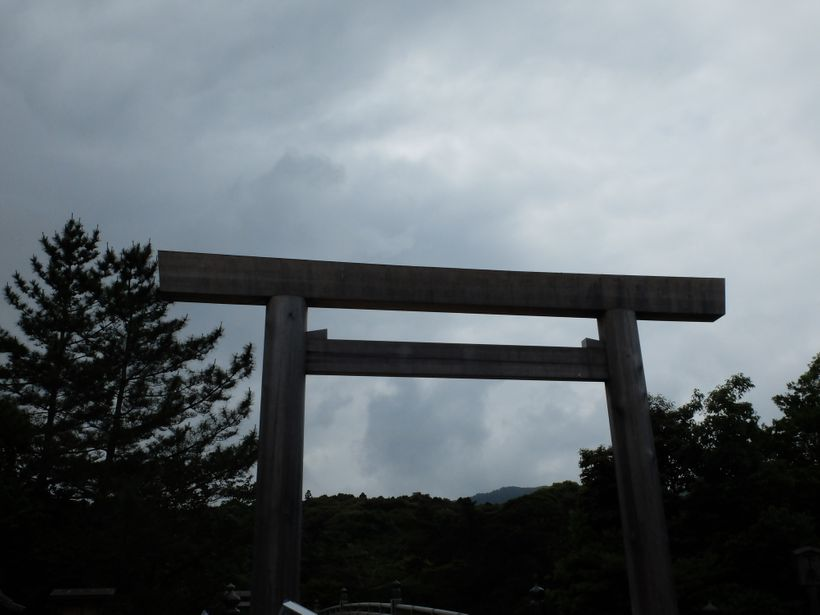 Torii gate at Ise Grand Shrine separates the material from the spiritual world