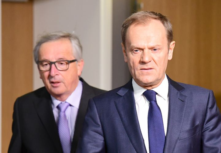 European Council President Donald Tusk (R) and European Commission President Jean-Claude Juncker at the European Council in B
