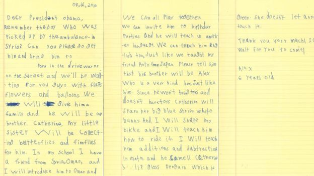 Letter from 6-year-old Alex to President Obama