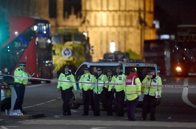Police at the scene of Wednesday's terror attack on Westminster Bridge in