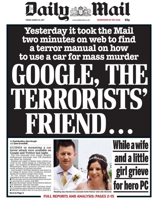 The Daily Mail's front page on Friday, March