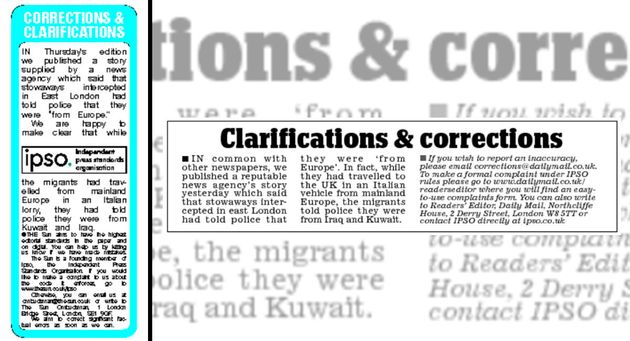 The Mail ran a correction a day later (right) while The Sun ran a correction two days later