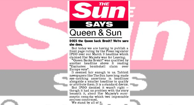 The Sun's editorial which ran in the same edition as the printed