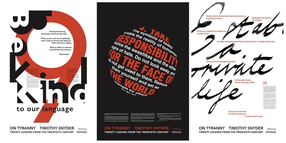 Posters with anti-tyranny advice have gone on view in East London.