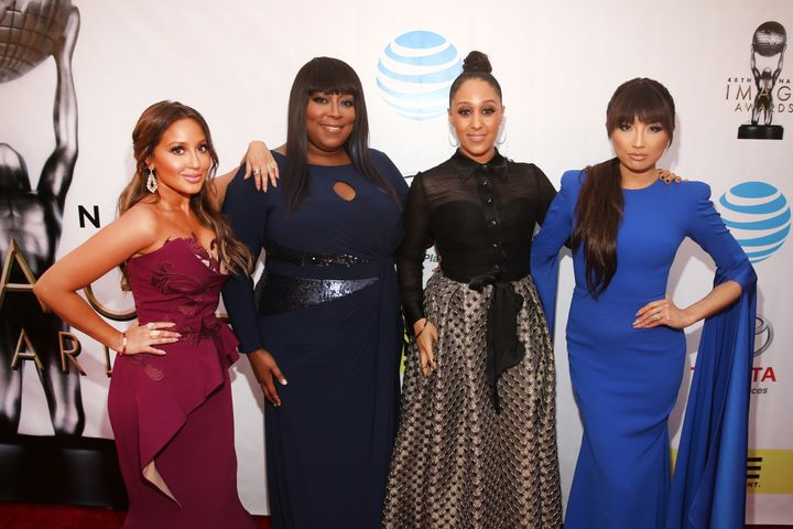 "Love co-hosts ""The Real"" with Tamera Mowry-Housley, Adrienne Bailon, and Jeannie Mai."