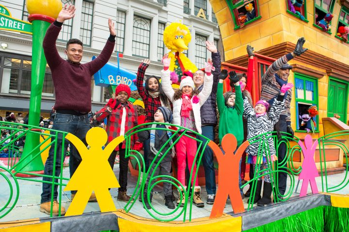 "The cast of ""Sesame Street"" at the Macy's Thanksgiving Day Parade in New York City in 2014."