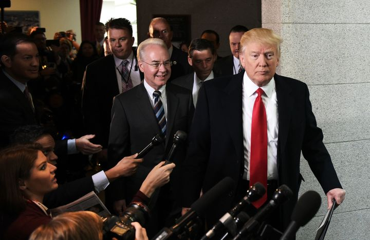 President Donald Trump and Health and Human Services Secretary Tom Price arrive at the U.S. Capitol to meet with the Republic