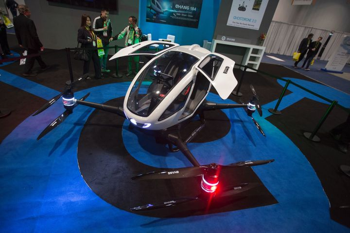 An Ehang 184 autonomous personal helicopter is displayed during the 2017 Consumer Electronic Show (CES) in Las Vegas, Nevada,