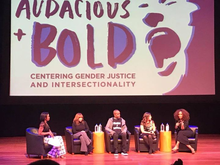 L-R Jodie Patterson, Rosie Perez, Wade Davis, Jessica Gonzalez Rojas, and Janet Mock discuss gender justice and intersectiona