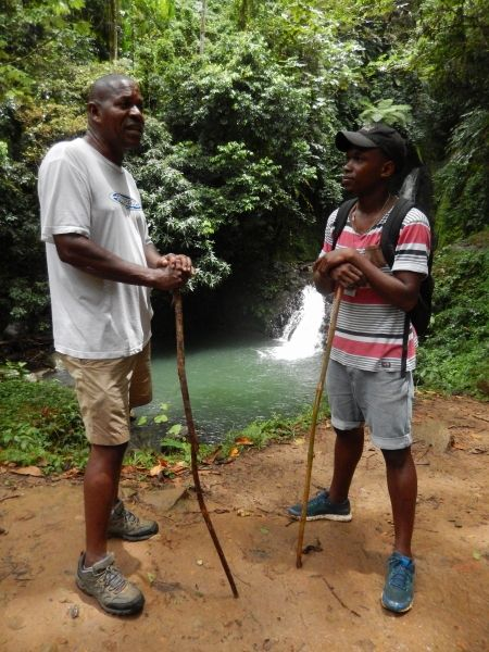 <strong><em>Word of mouth at work.  Lenox explained to Andrew where to find the hot springs on Grenada. </em></strong>