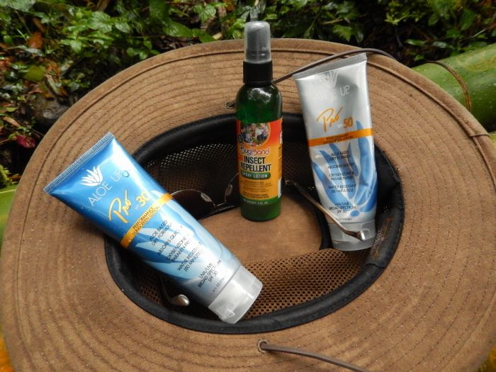 Rain forest essentials, safari hat with ventilation and a wide brim, bug spray, sun screen and water.