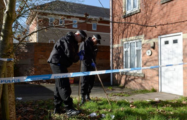 Police search the garden of a property on Navigation Way in Hockley,