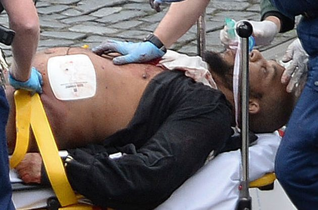Khalid Masood being treated immediately after the