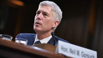 Neil Gorsuch testifies before the Senate Judiciary Committee on his nomination to be an associate justice of the US Supreme Court during a hearing in the Hart Senate Office Building in Washington, DC on March 22, 2017. / AFP PHOTO / Mandel Ngan        (Photo credit should read MANDEL NGAN/AFP/Getty Images)