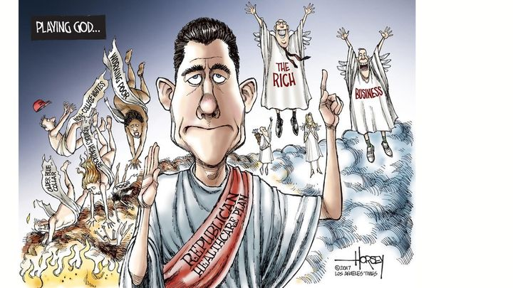 Paul Ryan caricatured as designing a replacement to Obamacare that sacrifices the wellbeing of the middle and working classes