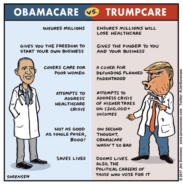 """A summary side-by-side comparison of """"Obamacare,"""" the law of the land, versus the now indefinitely forestalled pr"""