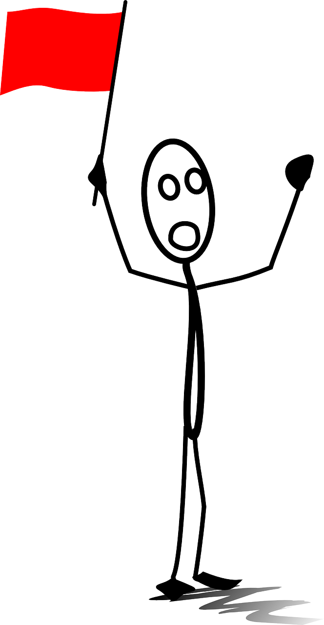 A perplexed stick-figure waving a red flag. Notice that there is not much to its form besides its confounded outrage and idea