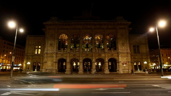 The State Opera house (Staatsoper) is seen after the lights were switched off for Earth Hour in Vienna, Austria, March 25, 20