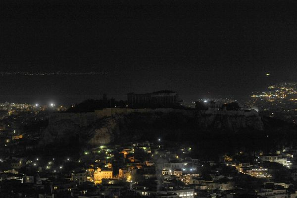 The hill of the Acropolis is pictured during Earth Hour in Athens, Greece, March 25, 2017.