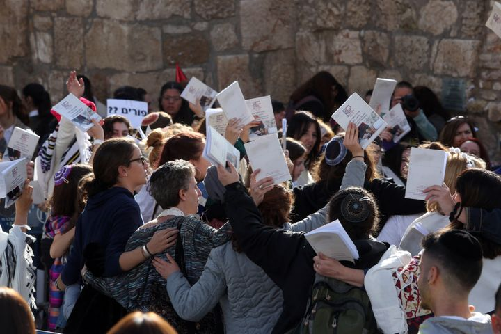 Members of theWomen of the Wall take part in prayers on February 27, 2017, during a prayer service at the Western Wall