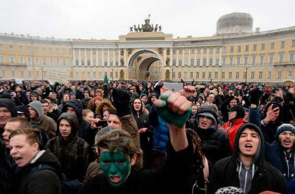 A crowd of opposition supporters assembled in central Saint Petersburg.