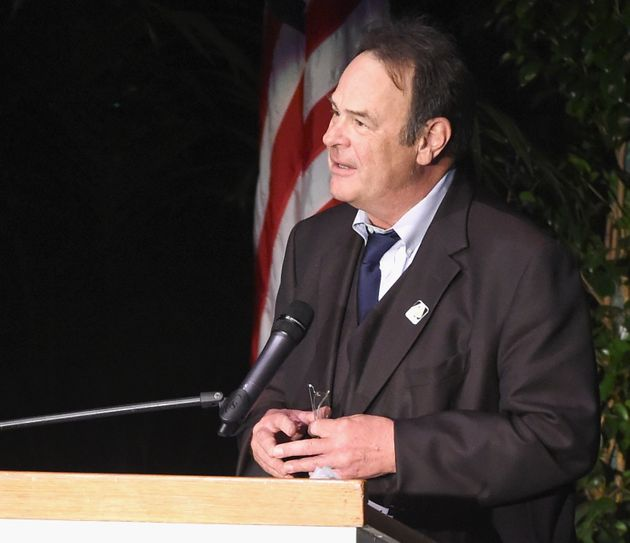 Actor Dan Aykroyd speaks onstage at Debbie Reynolds and Carrie Fisher Memorial at Forest Lawn Cemetery...