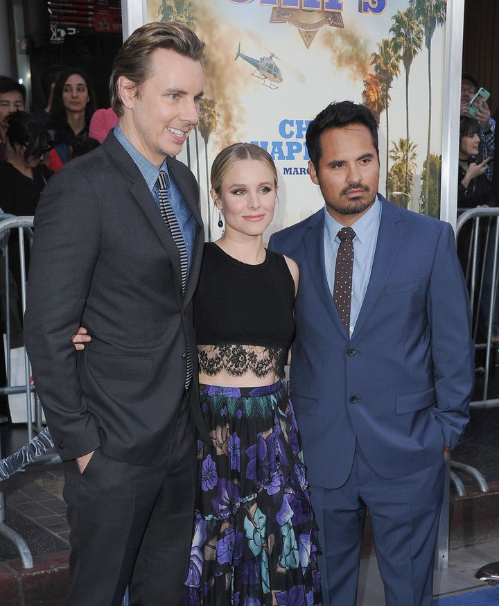 "Dax Shepard, Kristen Bell and Michael Pena arrive at the Los Angeles Premiere ""CHiPS."""