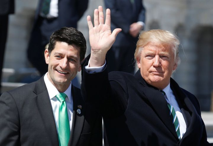 President Donald Trump waves with Speaker of the House Paul Ryan (R-Wis.) earlier this month. The health care bill they