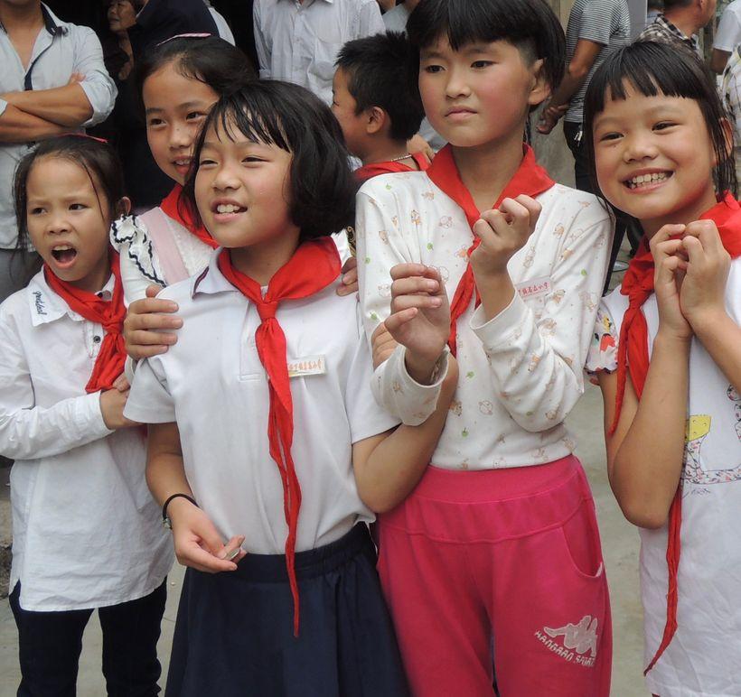 <strong>Schoolchildren on lunch break.</strong>