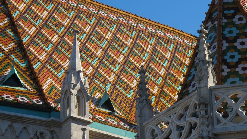 The patterned roof tiles of Budapest's Matthias Church were added in the late nineteenth century by architect Frigyes Schulek