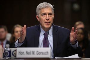 Trump Supreme Court nominee Neil Gorsuch at a recent Congressional confirmation hearing. Gorsuch was nominated by the 45th Pr