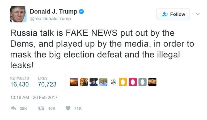 The @realDonaldTrump twitter account posted this accusation of FAKE NEWS on February 26, 2017 in response to mounting evidenc