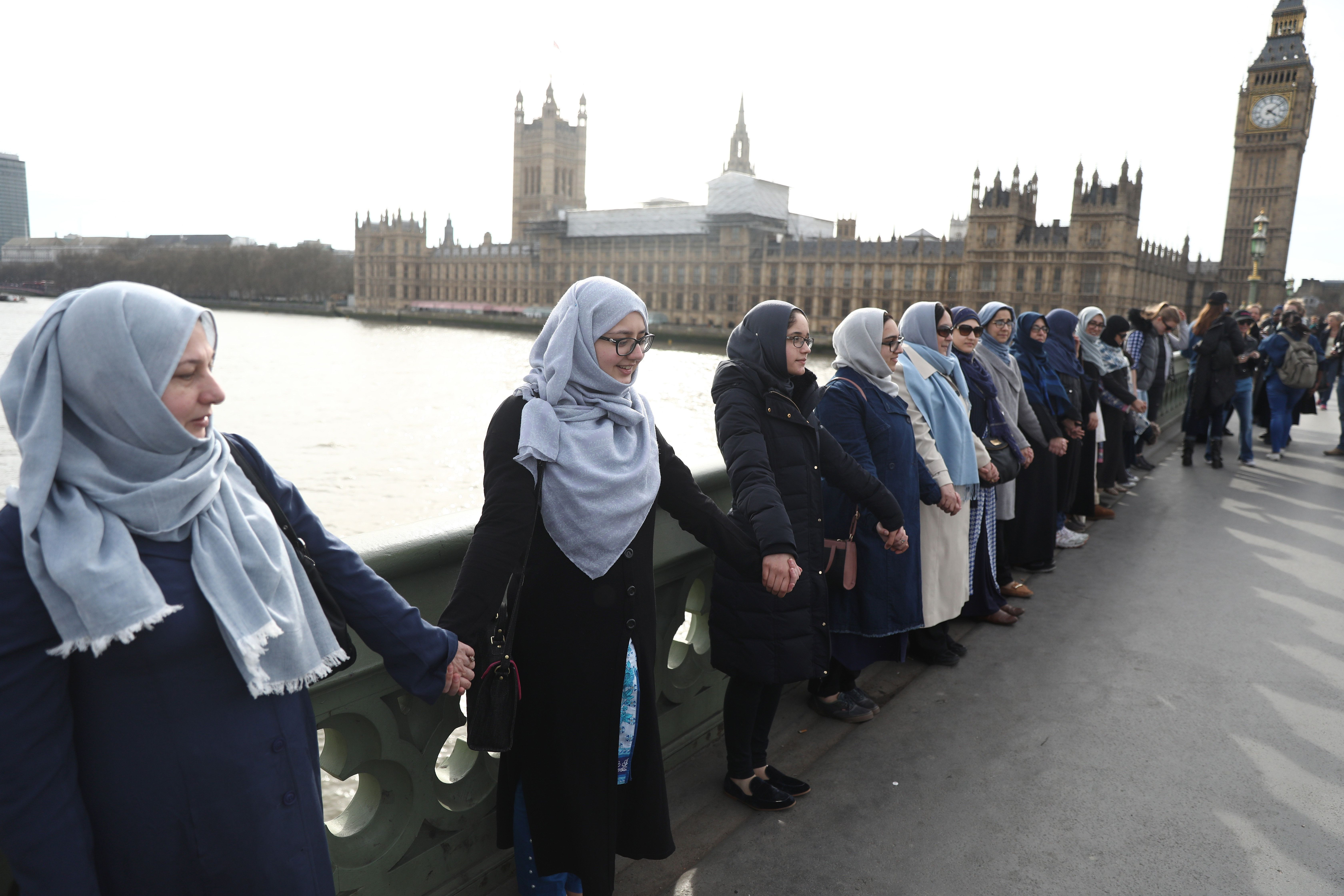 Muslim Women Gather On Westminster Bridge To Condemn London