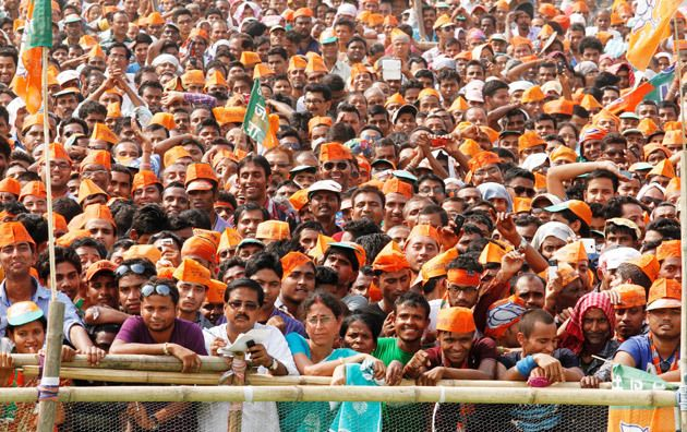 Audience at a Narendra Modi rally.