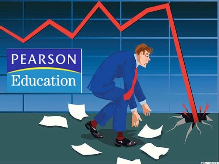 """Pearson stock has tumbled as its """"education"""" business falters."""