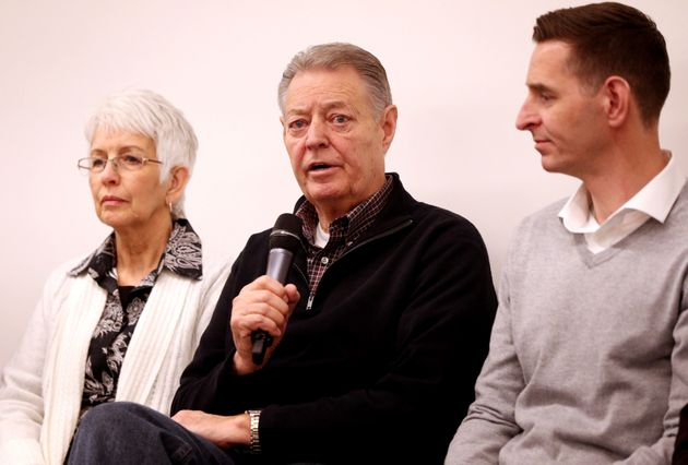 Dimmon Payne (centre), his wife Sandra (left), and Clint Payne (right) parents and brother, respectively,...
