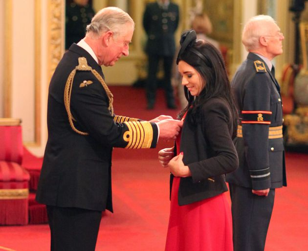 Clare Foges is made an Officer of the Order of the British Empire (OBE) by the Prince of Wales during...