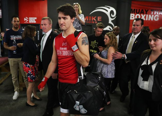 Canada's Prime Minister Justin Trudeau prepares to train at Gleason's Boxing Gym in Brooklyn, New York,...