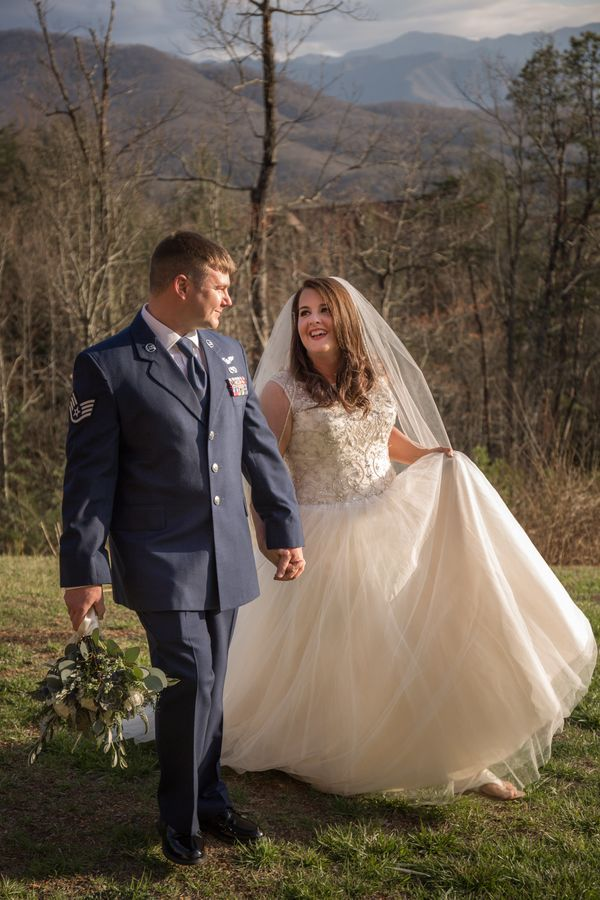 """""""Jeremy and Lauren were married on Saturday, March 25 at a cabin with stunning views of the Great Smoky Mountains National Pa"""