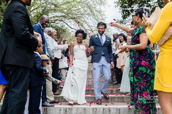 """""""Kasaan and Shawn enjoyed an intimate wedding ceremony on the Spanish Steps in Dupont Circle, Washington, DC."""" --<i>Nic"""
