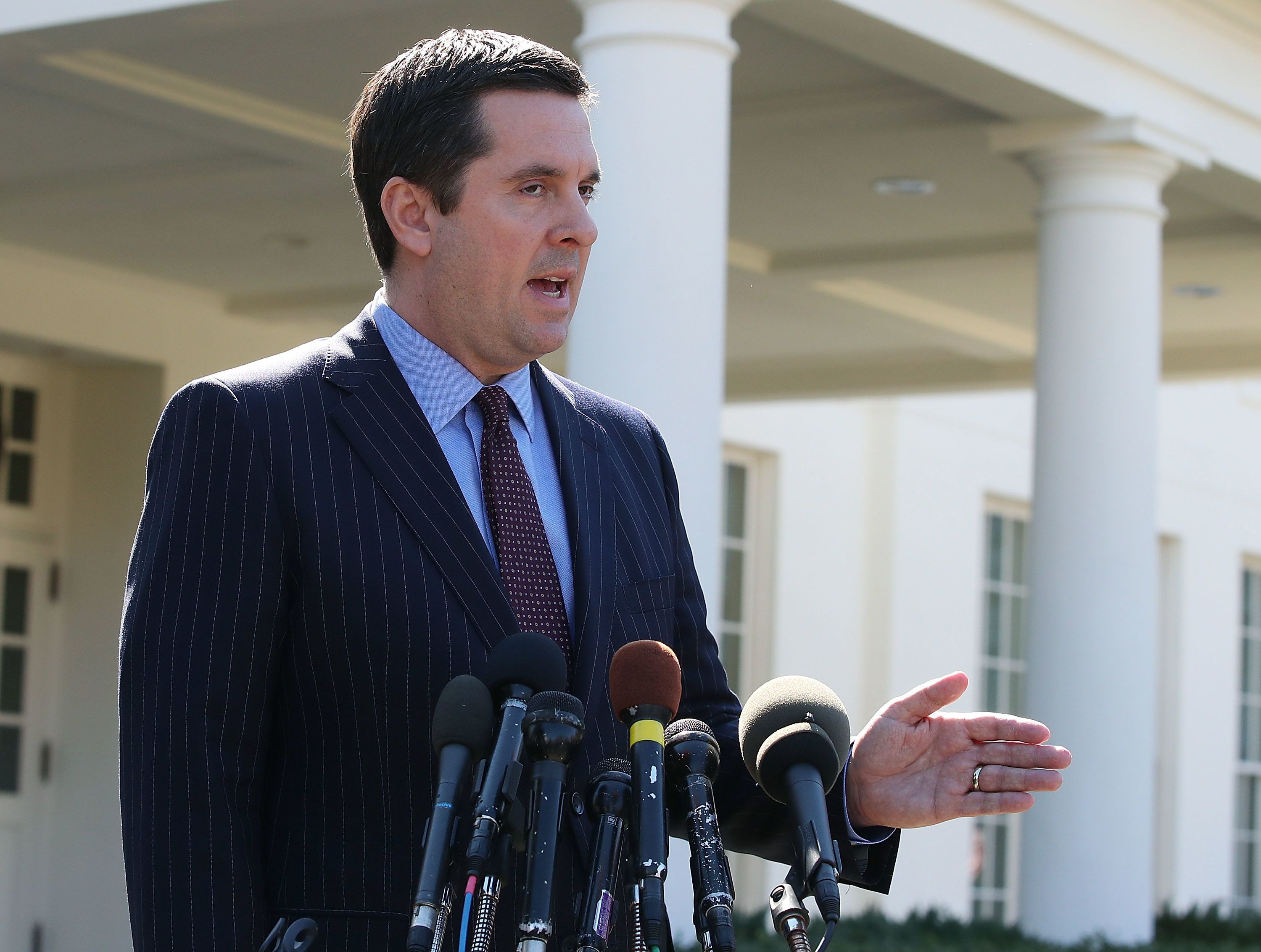 House Intelligence Committee Chairman Devin Nunes (R-Calif.) speaks to reporters after a meeting at the White House on March