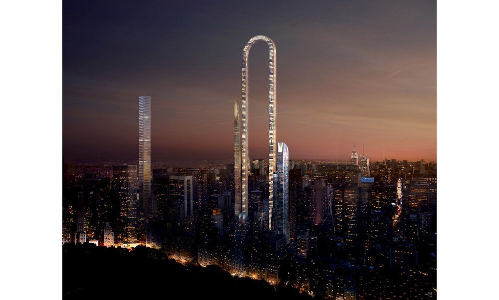 An architectural rendering of The Big Bend shows how the building would look against a New York City sunset.